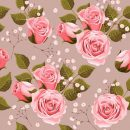 Pink rose with green leaves pattern seamless vector