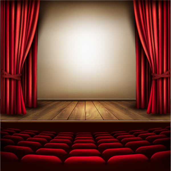 Cinema or theater scene with a curtain vector free