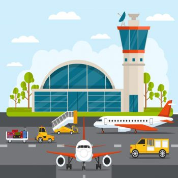Airport with infographic elements templates vector flat illustration free - 1306201605