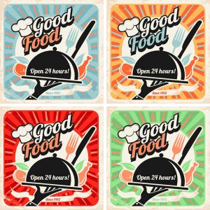 Set of retro restaurant posters, vintage food vector backgrounds with chef hat, plate, fork and knife - 2006201602