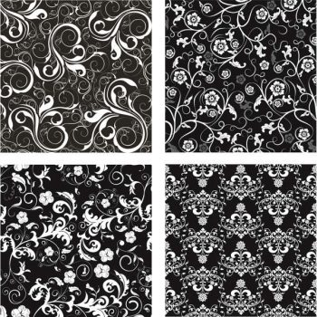 Seamless floral background black and white Free vector - 2206201604