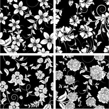 Floral patterns black and white vector free