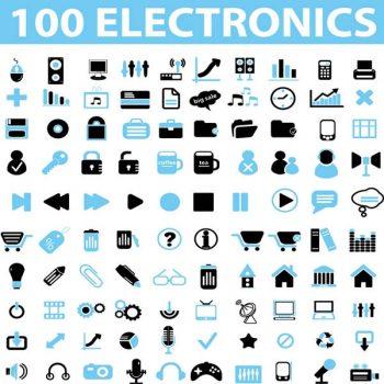 100 Electronics Icons Vectors