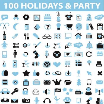 Holidays party icons