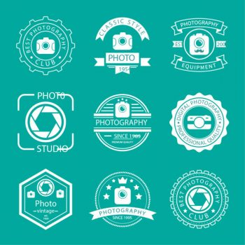 Retro photography logos vector