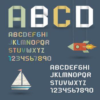 Origami alphabet retro style vector font