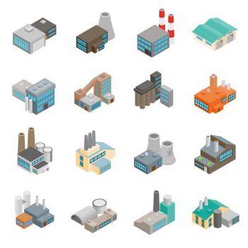 Industrial 3d building factory flat