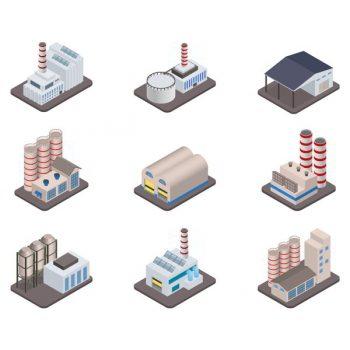 Industrial buldings vector