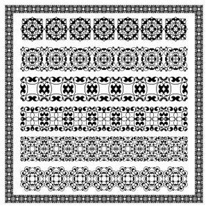 Vintage border decoration elements patterns in retro colors - 1907201601