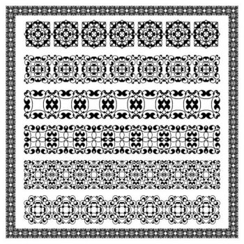 Vintage border decoration elements patterns in retro colors - 1907201601