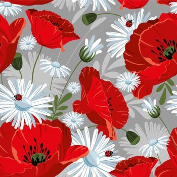 Poppies and daisies pattern on gray background - 2107201606