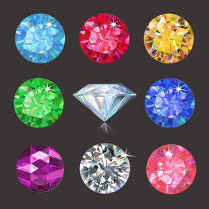 Set of colored gems isolated on dark background vector - 2207201604