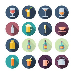 Set of drink icons in flat design Vector - 2407201605