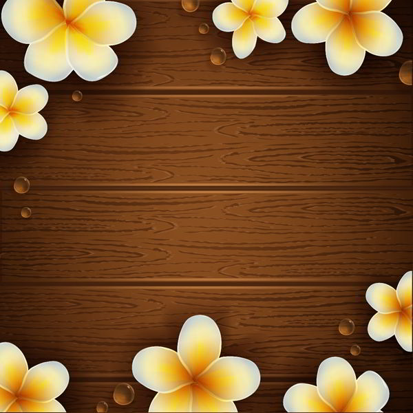 Wooden texture with flowers vector - 2407201607