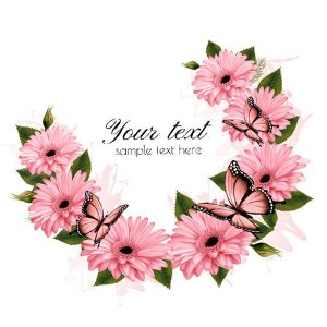 Beautiful holiday card with pink flowers - 2607201601