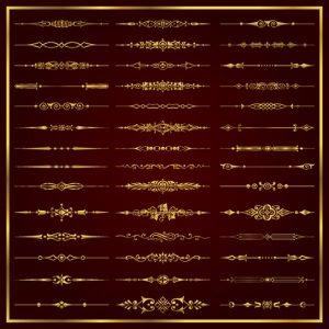 Calligraphic corners label in gold vector set - 2607201603