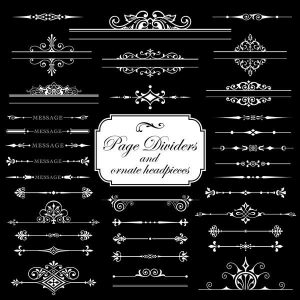 Page dividers ornate headpieces isolated on black background - 2707201601