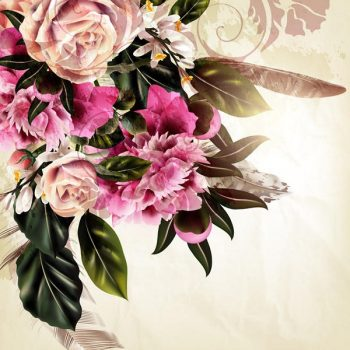 Grunge vector background with rose and peony flowers in vintage style - 2807201605