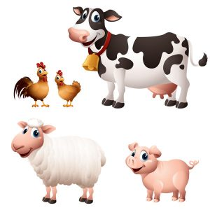 Cartoon Graphics Of Chicken Cow Sheep And Pig Vector - 2907201602
