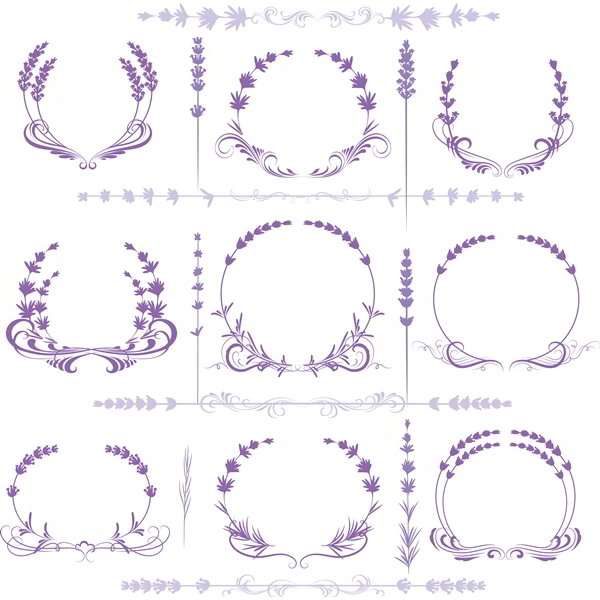 Lavender ornament stock vector art - 1208201604