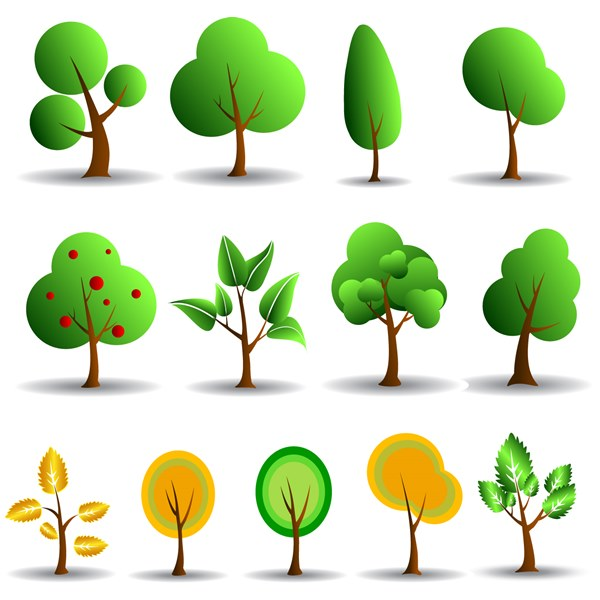 Tree icons vector set - 1208201608