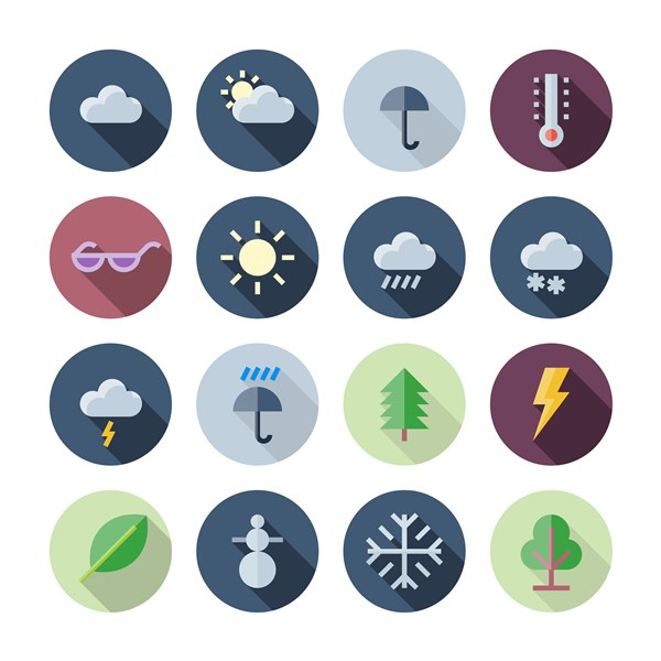 Flat Design Icons Weather and Nature vector - 1208201609