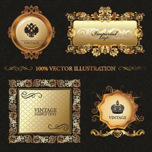 Gold vintage frame ornament - 2108201601