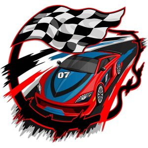 Speeding Racing Car with Checkered Flag & Racetrack Design - 2308201601