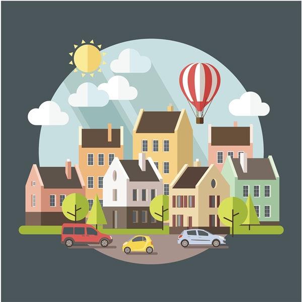 Urban landscape flat design concept vector - 2308201602