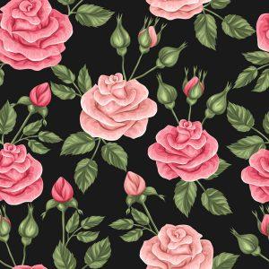 Seamless vintage rose pattern - 2608201601