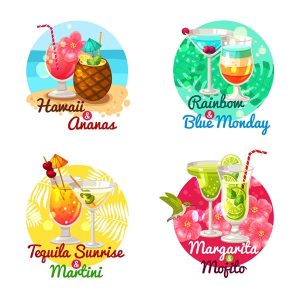 Tropical cocktails flat vector - 2908201601