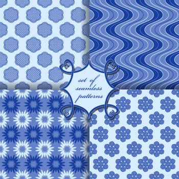 Blue seamless patterns vector set - 2908201604