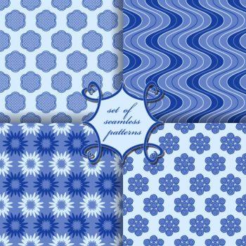 Blue seamless patterns vector set - 2908201604