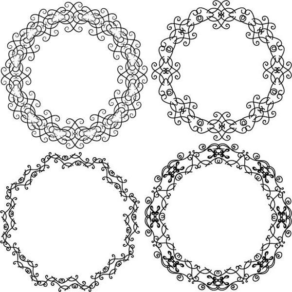 Vintage monogram design elements thin line vector set - 2908201605