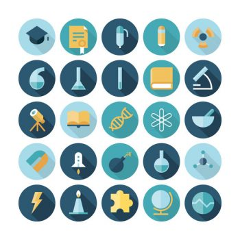 Flat Science And Education Circle Icons Set - 3008201601